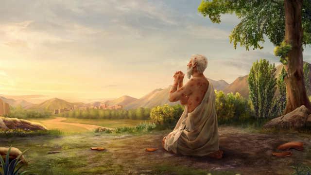 अय्यूब राख में प्रार्थना करता है